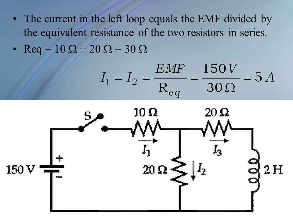The current in the left loop equals the EMF divided by the equivalent resistance of the two resistors in series.