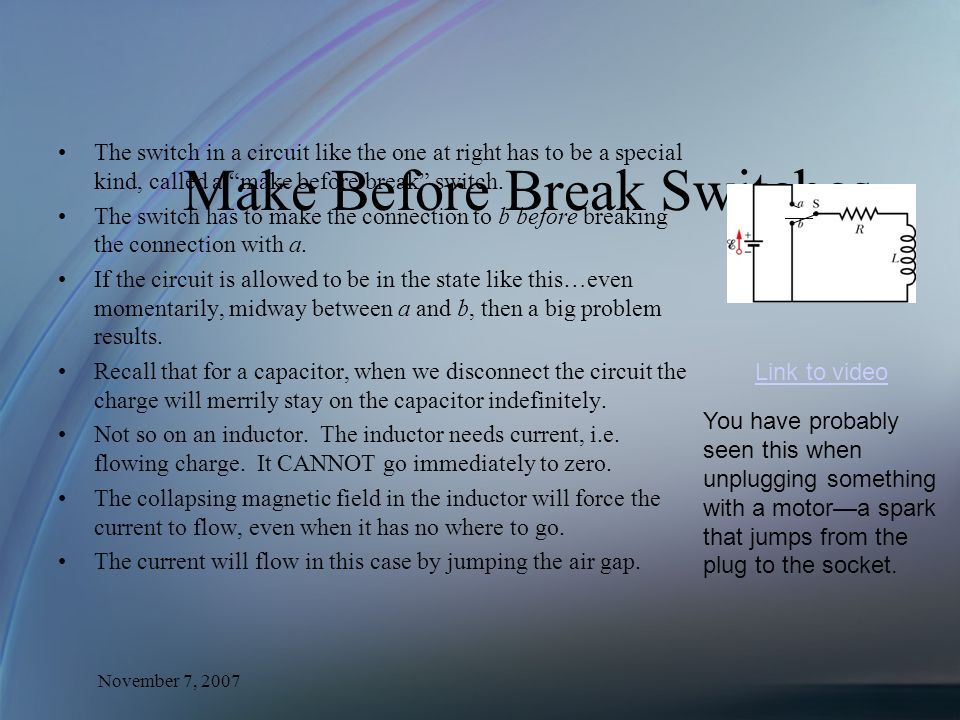 Make Before Break Switches