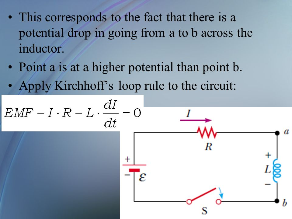 This corresponds to the fact that there is a potential drop in going from a to b across the inductor.