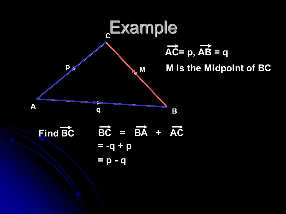 Example AC= p, AB = q M is the Midpoint of BC Find BC BC BA AC = +