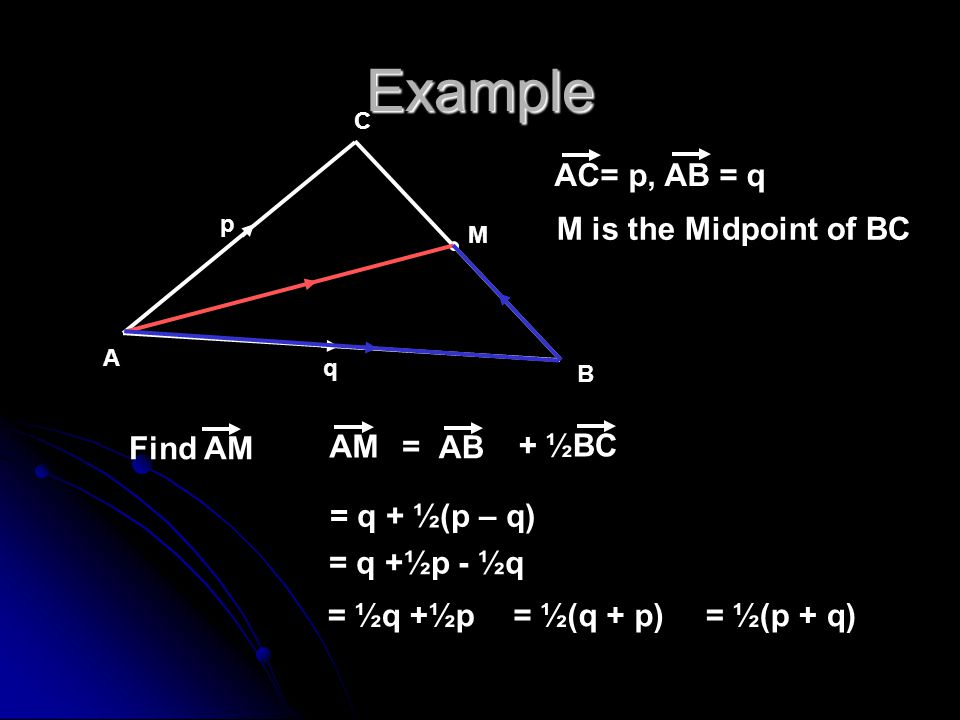 Example AC= p, AB = q M is the Midpoint of BC Find AM AM + ½BC = AB