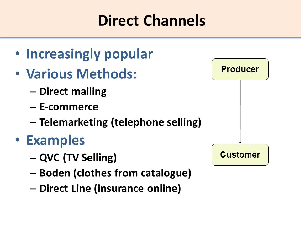 Direct Channels Increasingly popular Various Methods: Examples