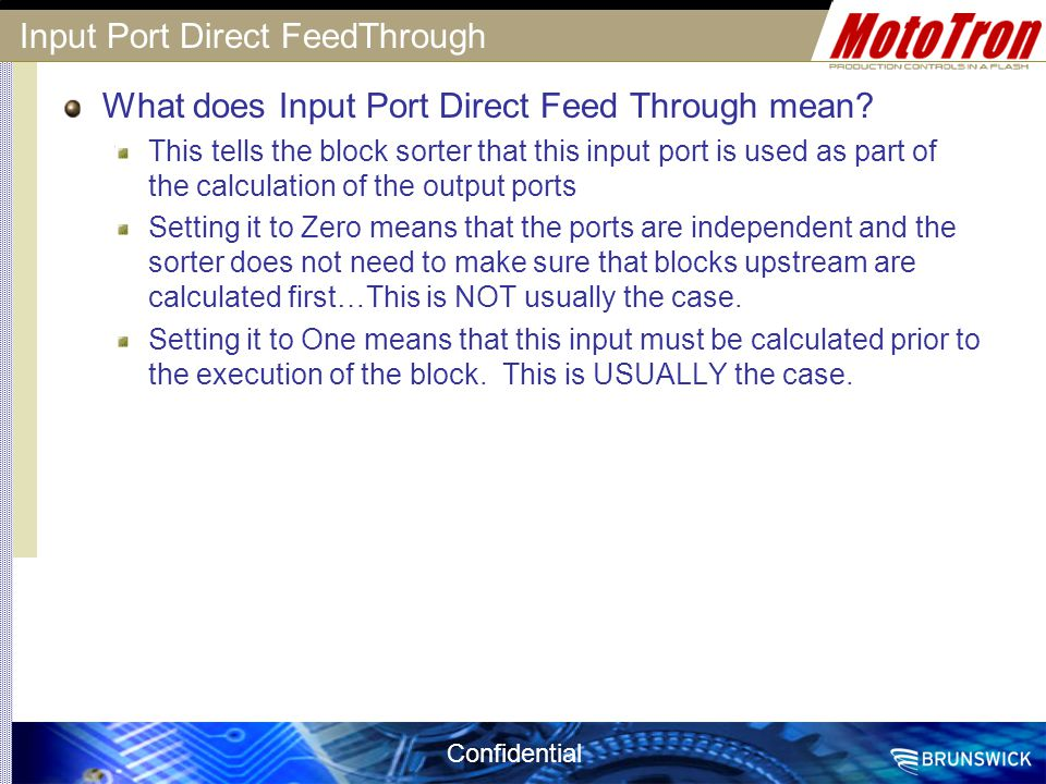 Input Port Direct FeedThrough