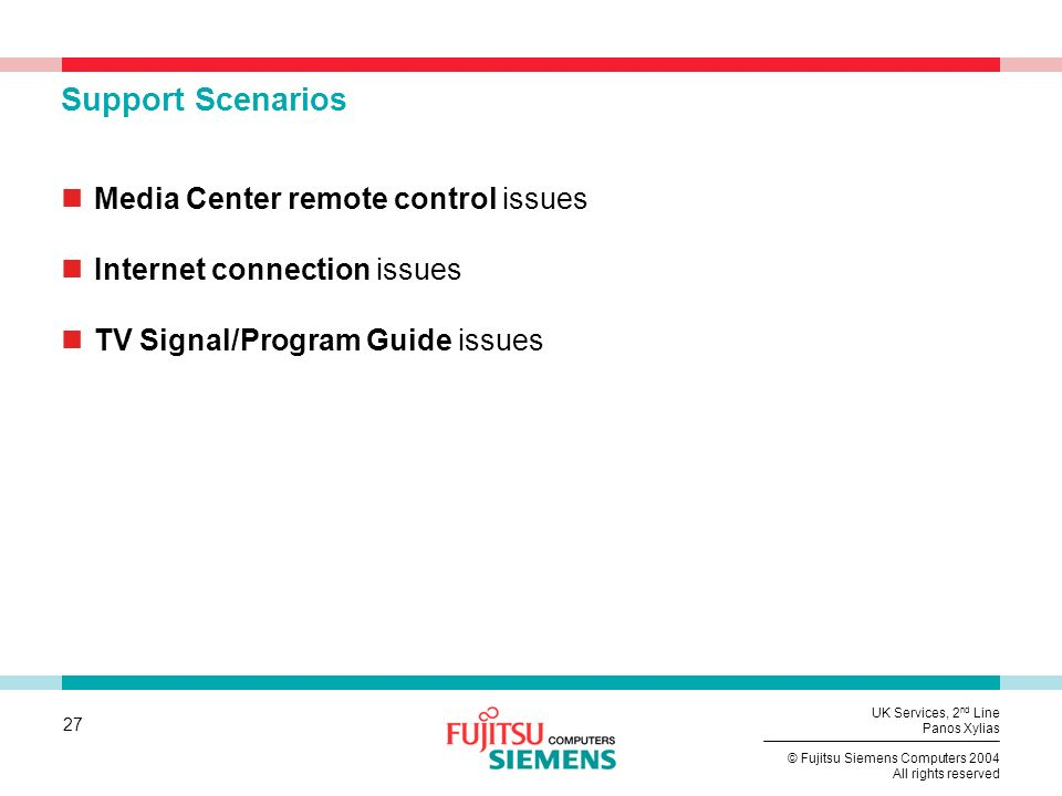 Support Scenarios Media Center remote control issues