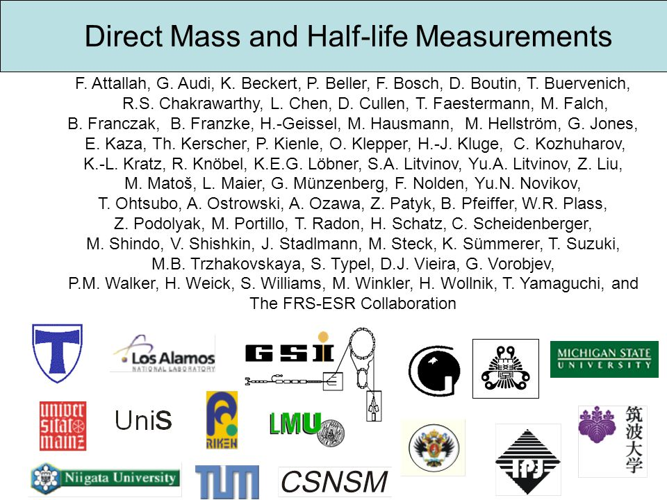 Direct Mass and Half-life Measurements
