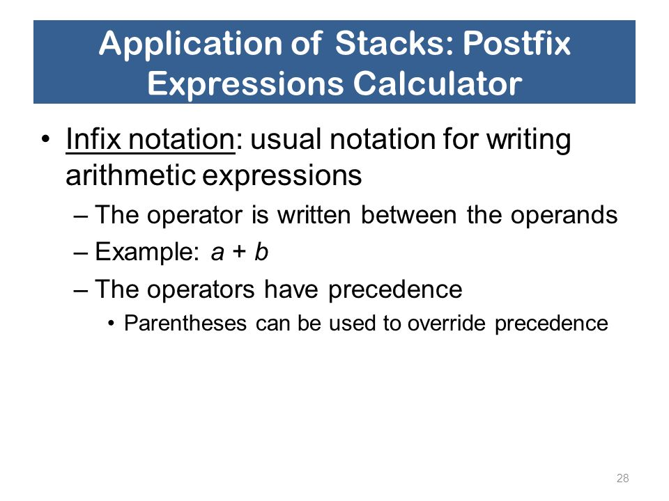 Application of Stacks: Postfix Expressions Calculator