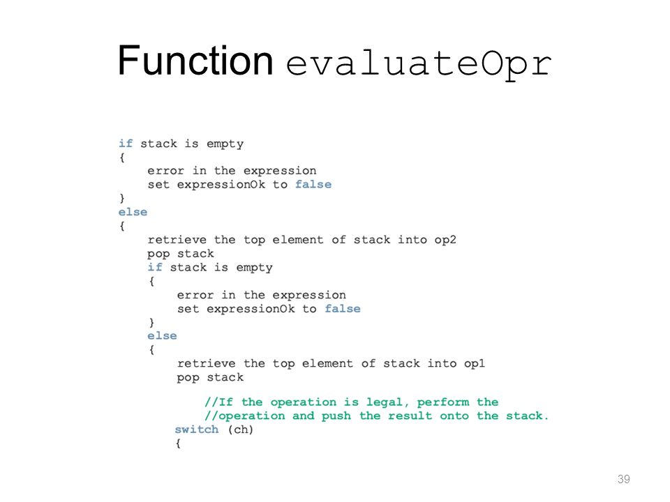 Function evaluateOpr