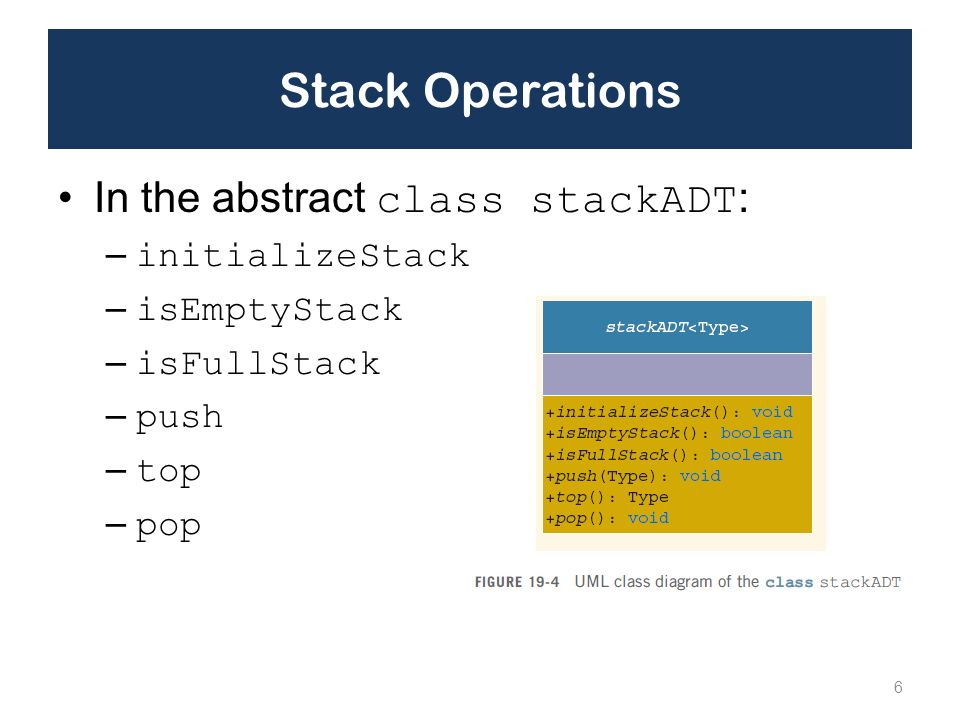 Stack Operations In the abstract class stackADT: initializeStack