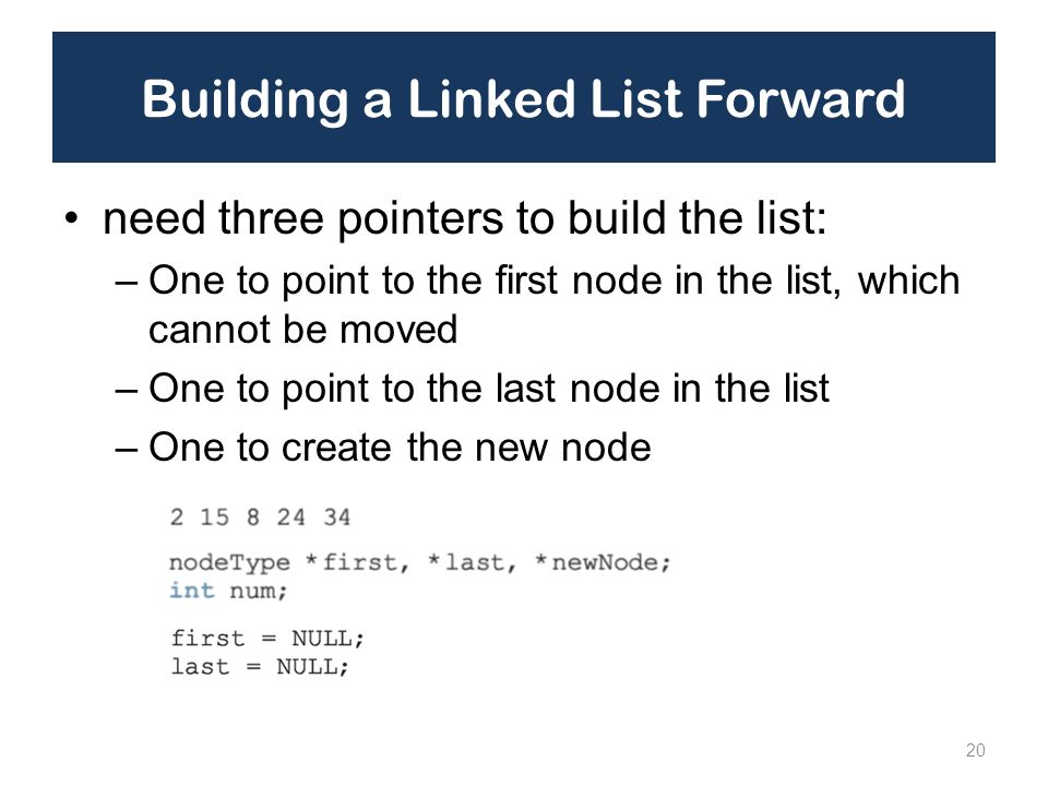 Building a Linked List Forward