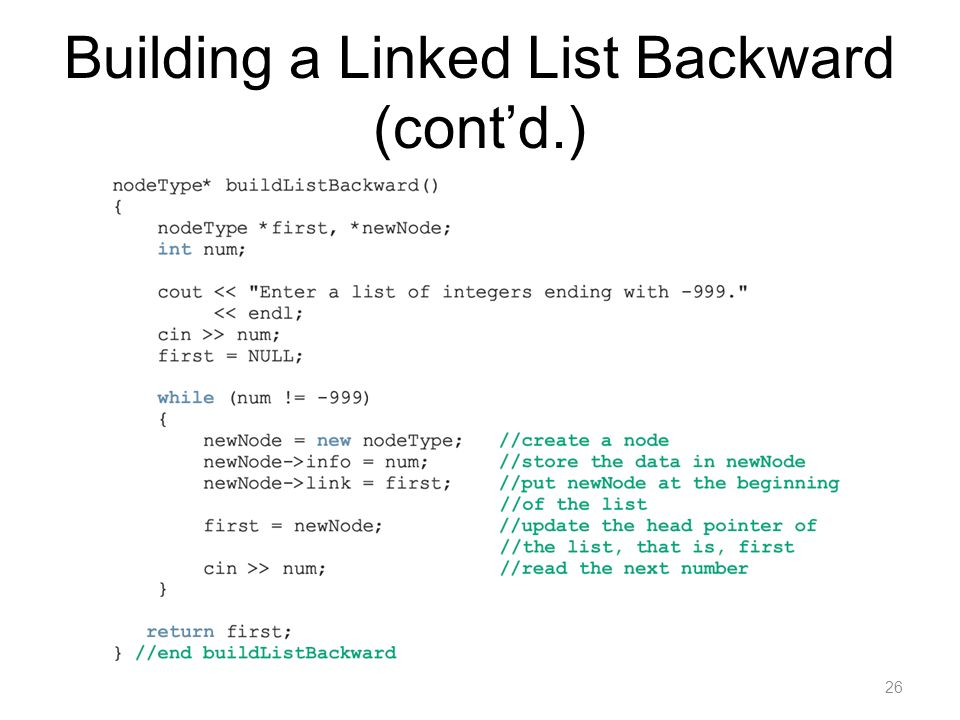 Building a Linked List Backward (cont'd.)
