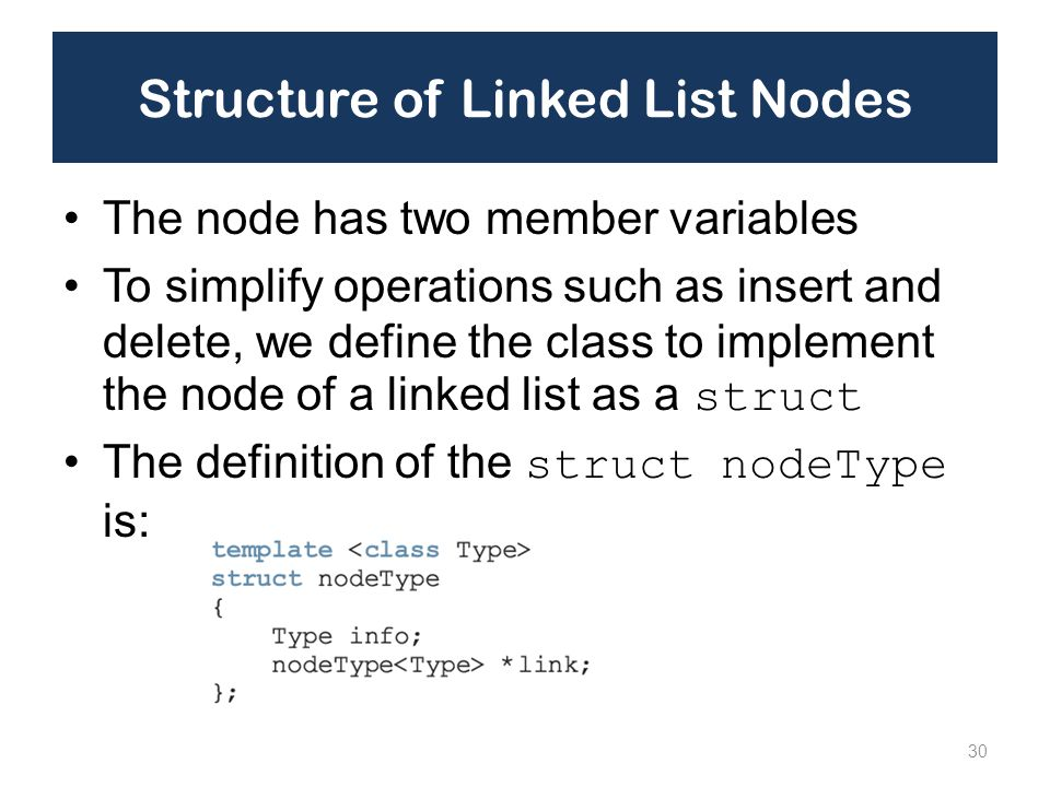 Structure of Linked List Nodes