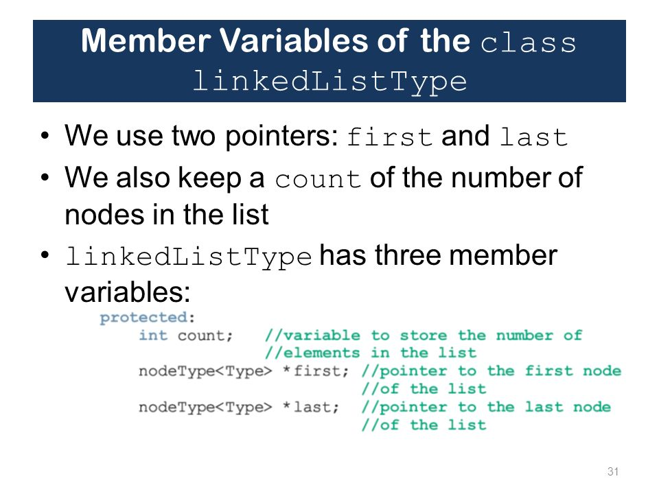 Member Variables of the class linkedListType