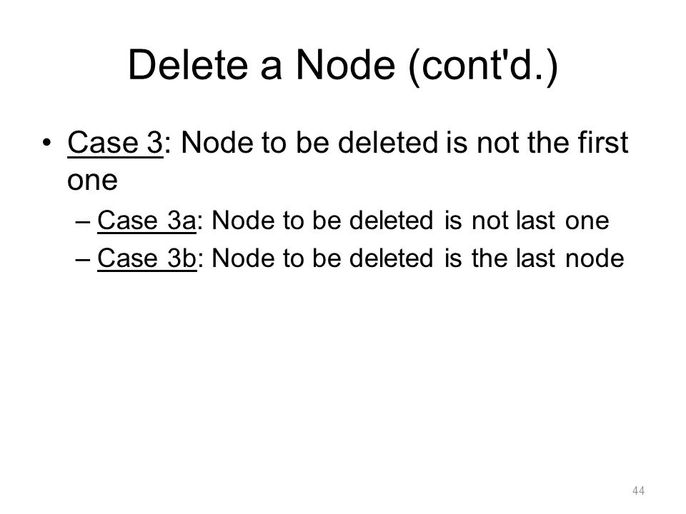 Delete a Node (cont d.) Case 3: Node to be deleted is not the first one. Case 3a: Node to be deleted is not last one.