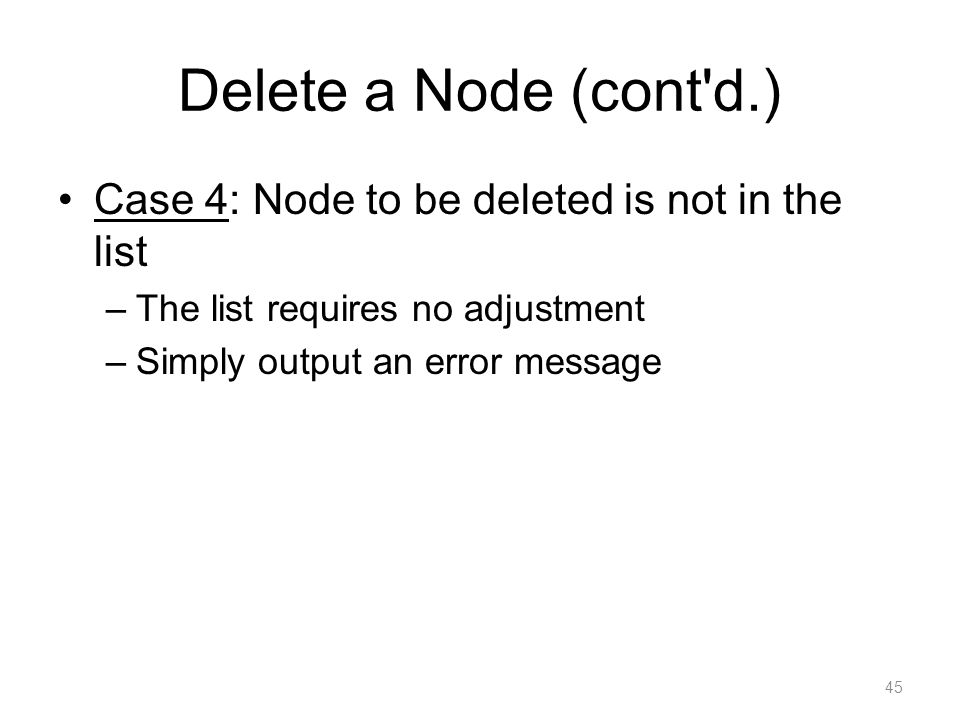 Delete a Node (cont d.) Case 4: Node to be deleted is not in the list