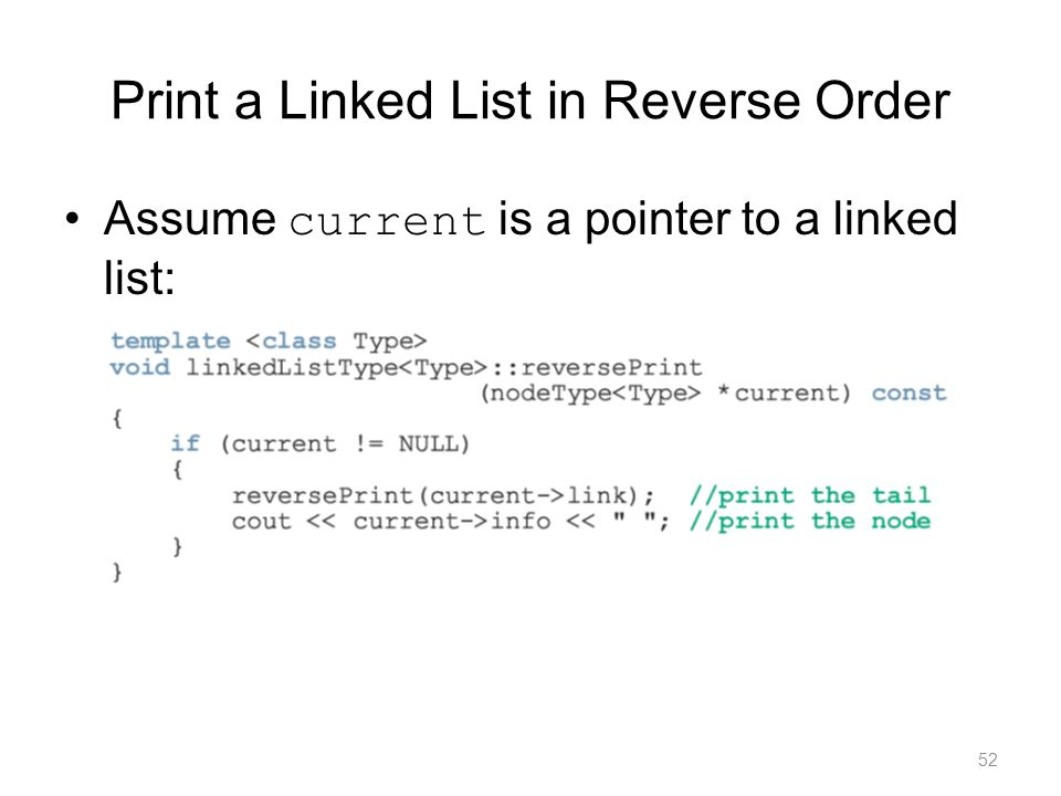 Print a Linked List in Reverse Order