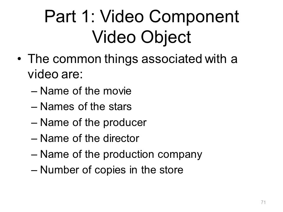 Part 1: Video Component Video Object