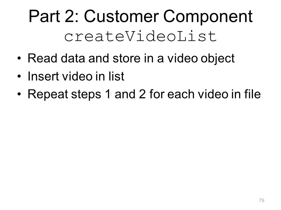 Part 2: Customer Component createVideoList