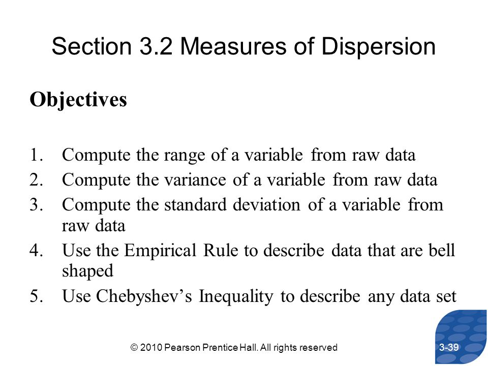 Section 3.2 Measures of Dispersion