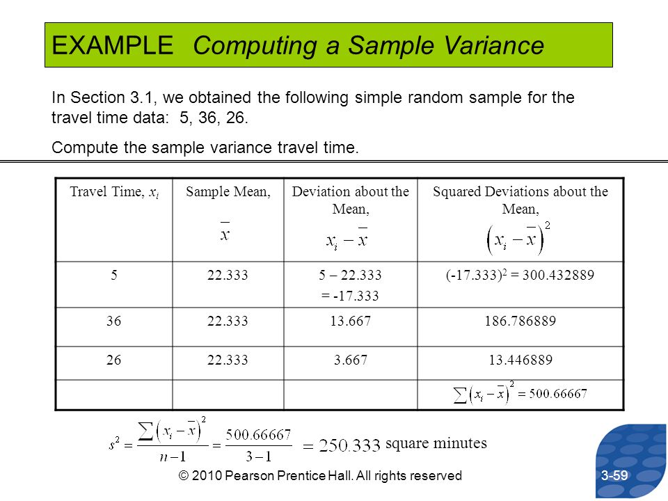 EXAMPLE Computing a Sample Variance