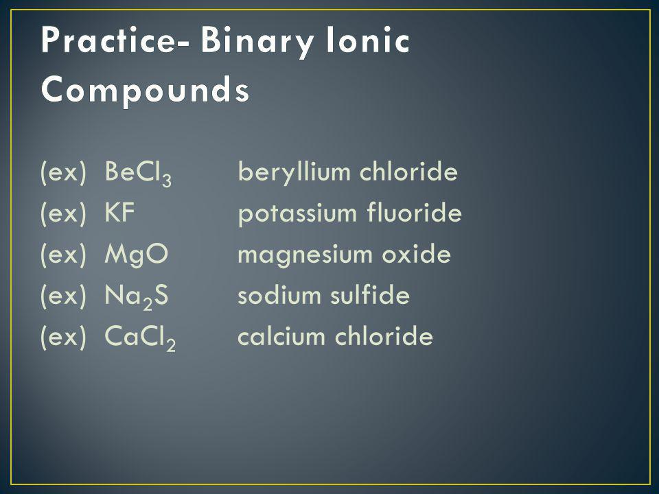 Practice- Binary Ionic Compounds