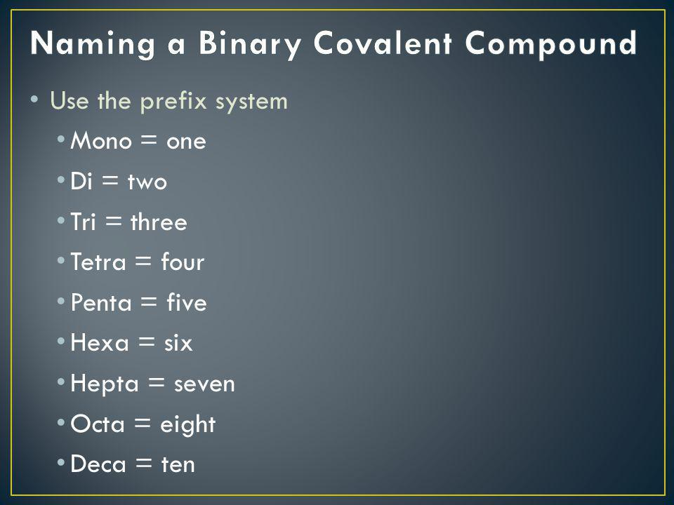 Naming a Binary Covalent Compound