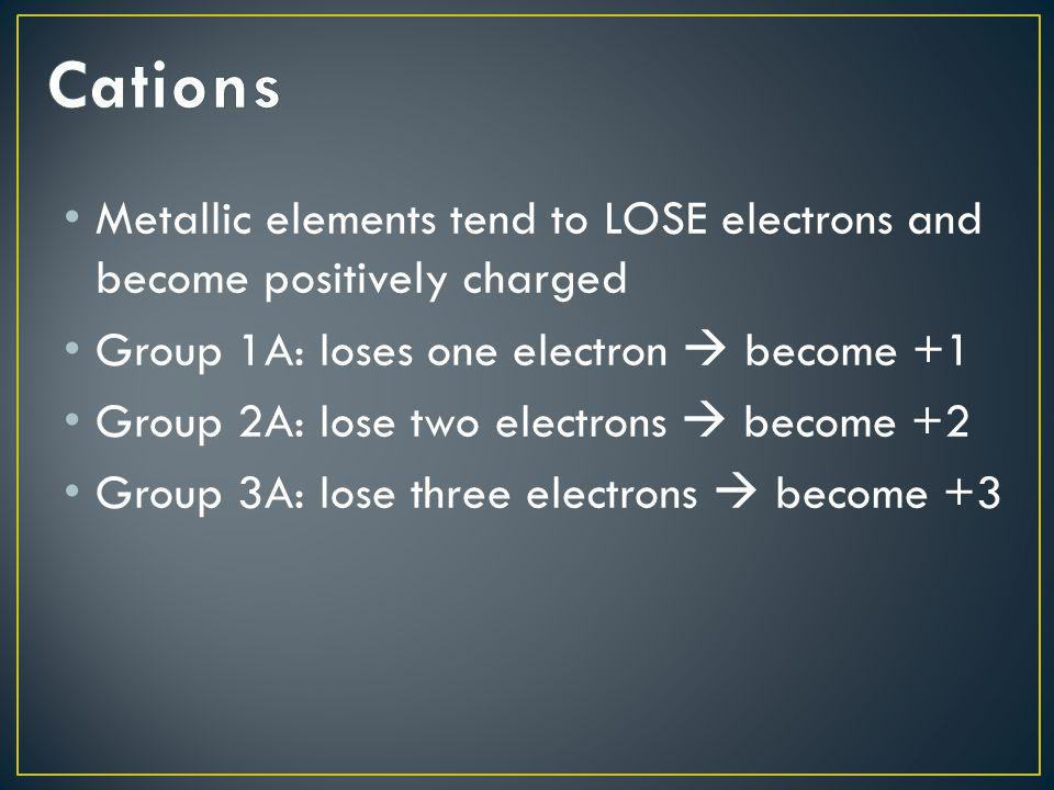 Cations Metallic elements tend to LOSE electrons and become positively charged. Group 1A: loses one electron  become +1.