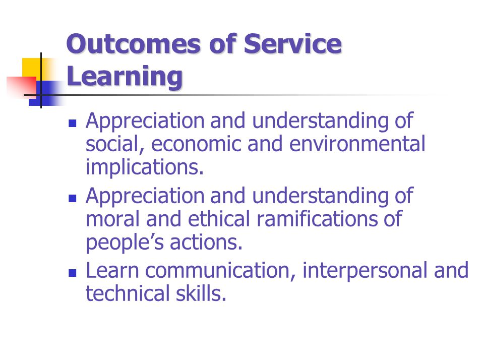 Outcomes of Service Learning