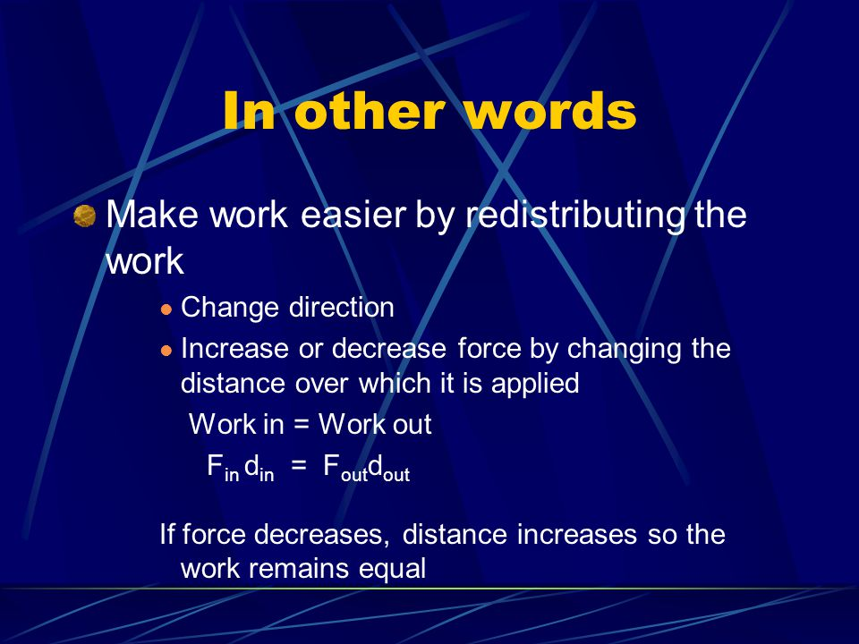 In other words Make work easier by redistributing the work