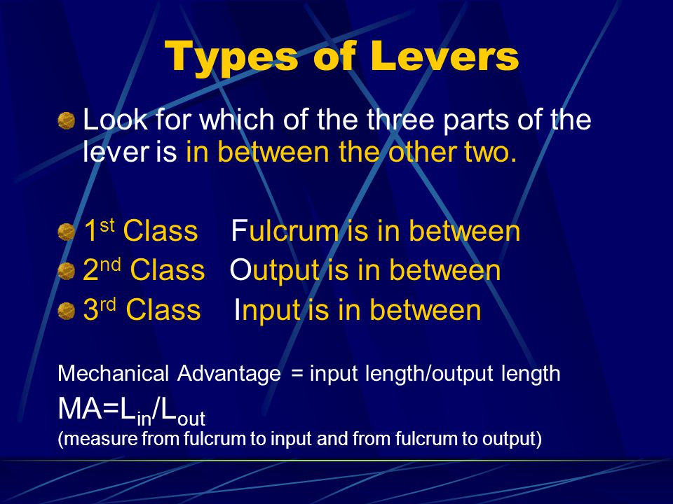Types of Levers Look for which of the three parts of the lever is in between the other two. 1st Class Fulcrum is in between.