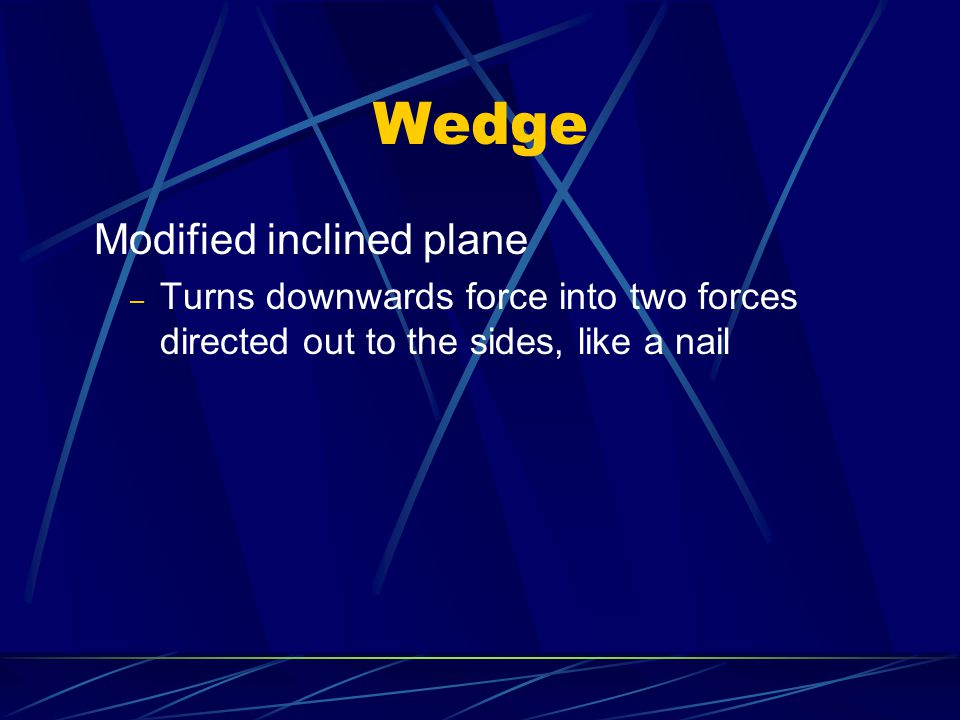 Wedge Modified inclined plane