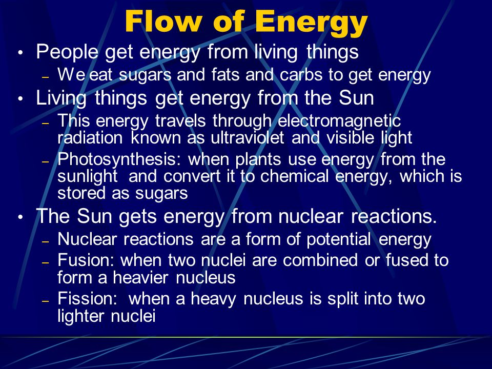 Flow of Energy People get energy from living things