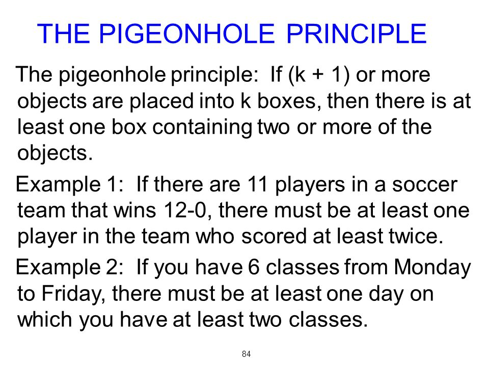THE PIGEONHOLE PRINCIPLE