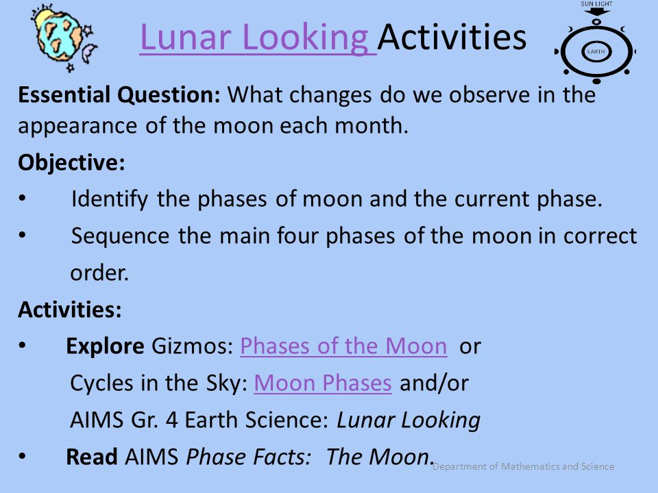 Lunar Looking Activities