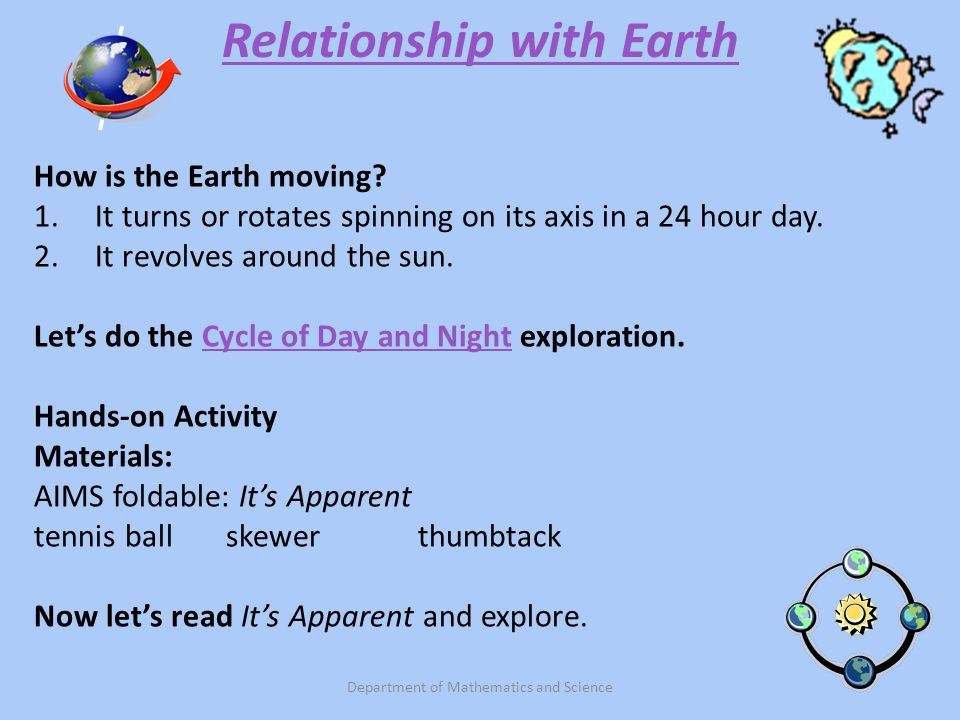 Relationship with Earth