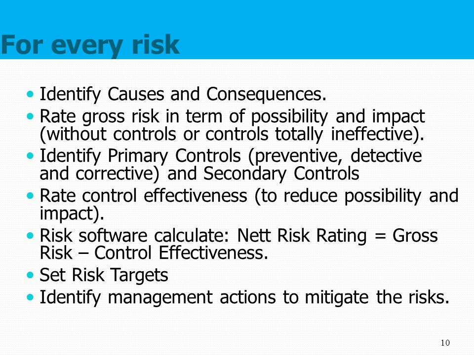 For every risk Identify Causes and Consequences.