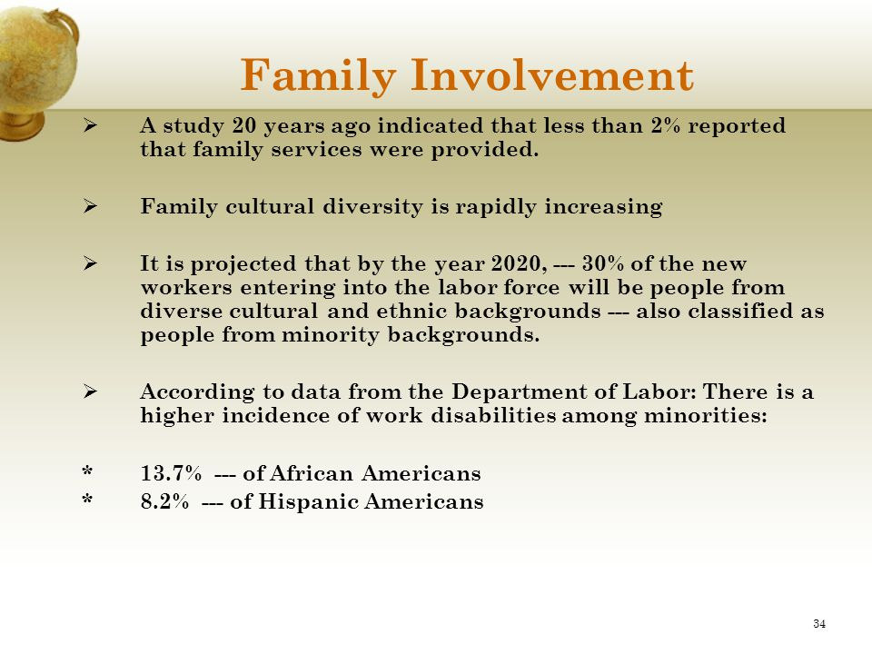 Family Involvement A study 20 years ago indicated that less than 2% reported that family services were provided.