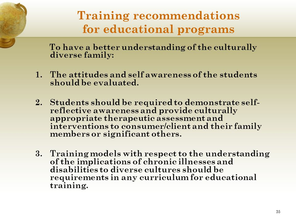 Training recommendations for educational programs