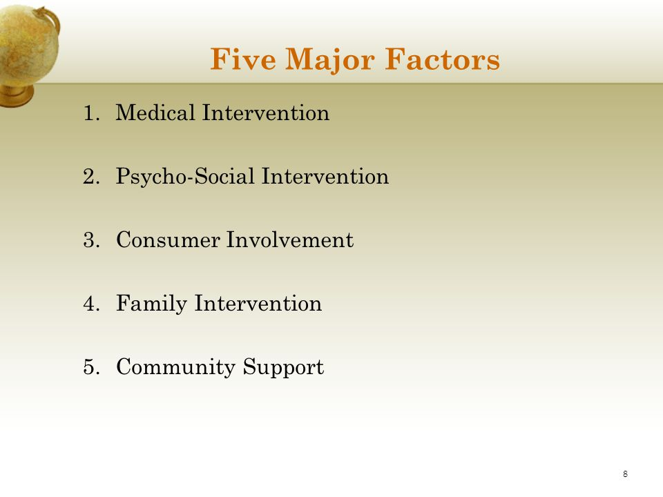 Five Major Factors Medical Intervention Psycho-Social Intervention