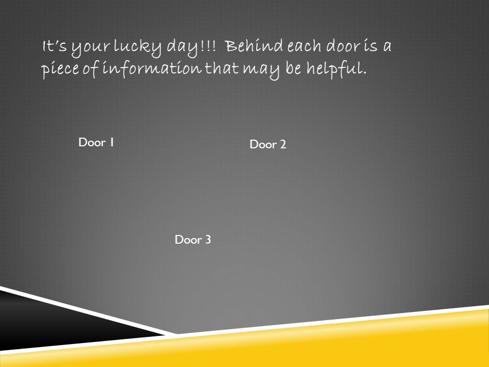 It's your lucky day!!! Behind each door is a piece of information that may be helpful.