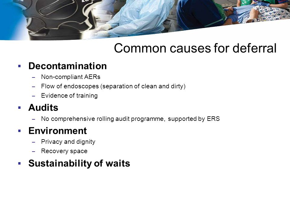 Common causes for deferral