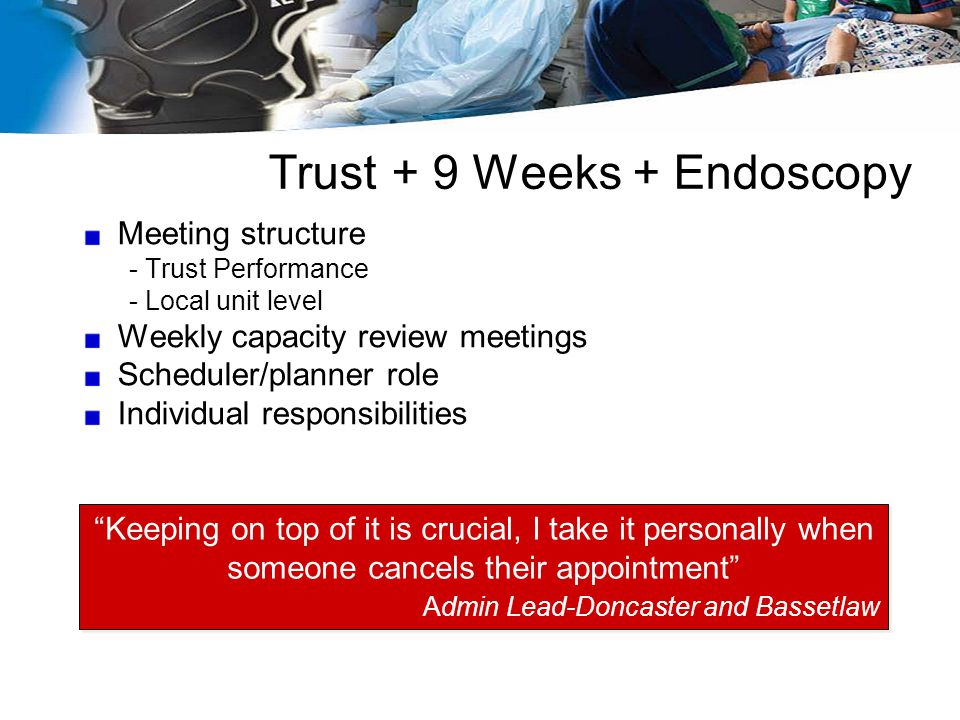 Trust + 9 Weeks + Endoscopy