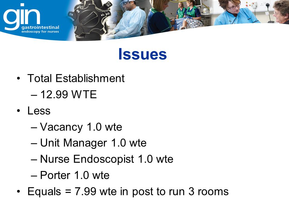 Issues Total Establishment 12.99 WTE Less Vacancy 1.0 wte
