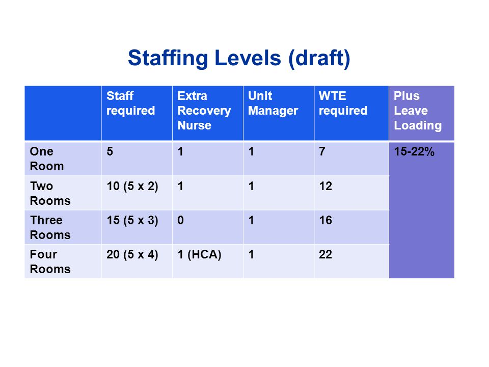 Staffing Levels (draft)