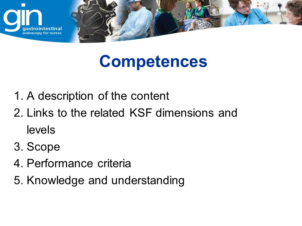 Competences 1. A description of the content