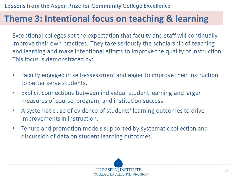 Theme 3: Intentional focus on teaching & learning