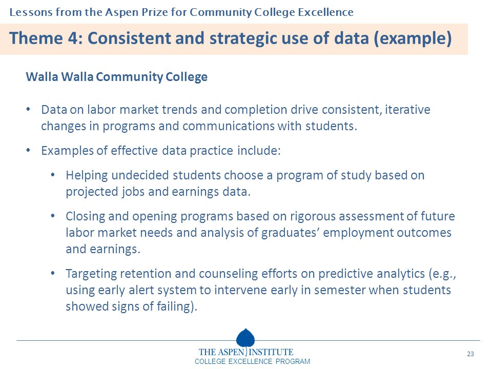 Theme 4: Consistent and strategic use of data (example)