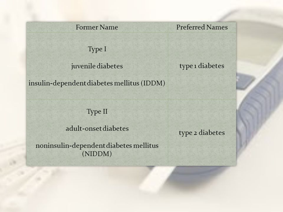 Type I juvenile diabetes insulin-dependent diabetes mellitus (IDDM)