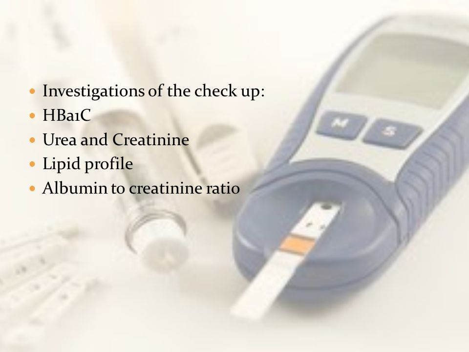 Investigations of the check up: