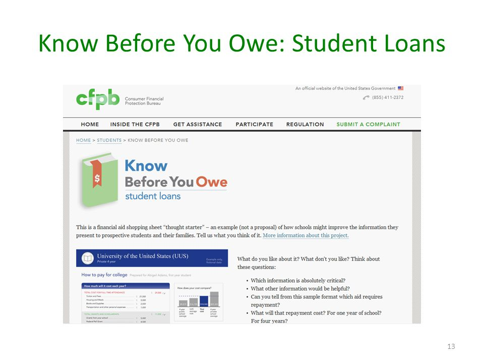 Know Before You Owe: Student Loans