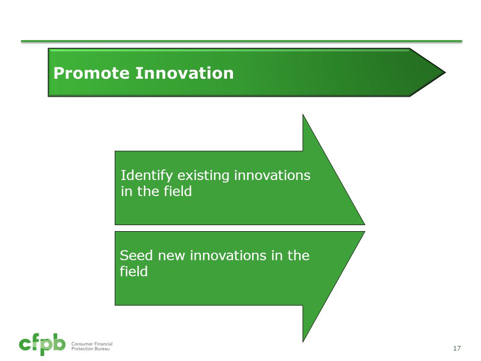Promote Innovation Identify existing innovations in the field